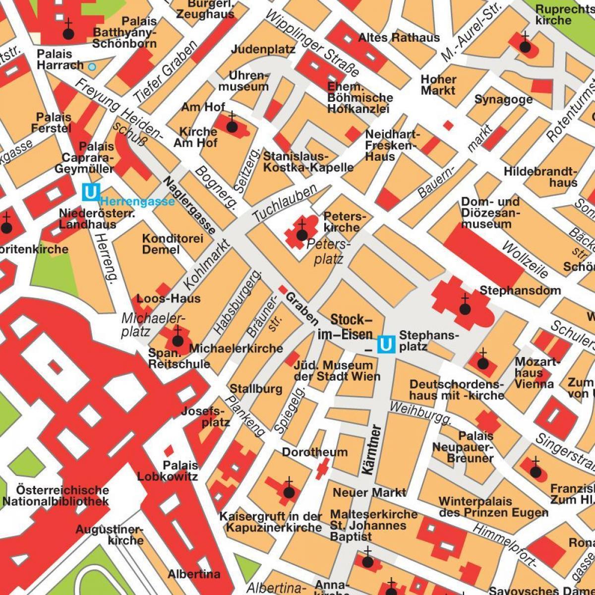 Wienin Keskustassa Kartta Wienin Keskustan Kartta Itavalta